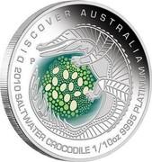 Australia 15 Dollars Discover Australia - Saltwater Crocodile 2010 KM# 1417 DISCOVER AUSTRALIA 2010 SALTWATER CROCODILE 1/10 OZ 9995 PLATINUM P DB coin reverse
