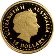 Australia 15 Dollars Discover Australia - Tasmanian Devil 2007 Proof KM# 972 ELIZABETH II AUSTRALIA 15 DOLLARS IRB coin obverse