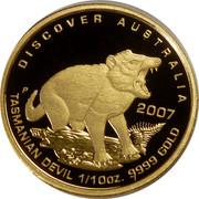 Australia 15 Dollars Discover Australia - Tasmanian Devil 2007 Proof KM# 972 DISCOVER AUSTRALIA TASMANIAN DEVIL 1/10OZ. 9999 GOLD 2007 P coin reverse
