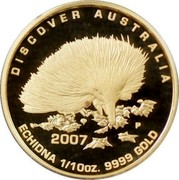 Australia 15 Dollars Echidna 2007 Proof KM# 966 DISCOVER AUSTRALIA 2007 ECHIDNA 1/10OZ. 9999 GOLD coin reverse