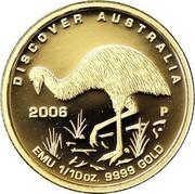 Australia 15 Dollars Emu 2006 Proof KM# 957 DISCOVER AUSTRALIA EMU 1/10OZ. 9999 GOLD 2006 P coin reverse