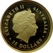 Australia 15 Dollars Great white shark 2007 Proof KM# 975 ELIZABETH II AUSTRALIA ∙ 15 DOLLARS ∙ IRB coin obverse