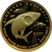 Australia 15 Dollars Great white shark 2007 Proof KM# 975 DISCOVER AUSTRALIA 2007 GREAT WHITE SHARK 1/10OZ 9999 GOLD P RV coin reverse
