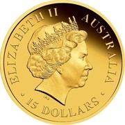 Australia 15 Dollars Green and Gold Bell Frog in greass 2012 P Proof KM# 1721 ELIZABETH II AUSTRALIA ∙ 15 DOLLARS ∙ IRB coin obverse