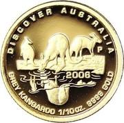 Australia 15 Dollars Grey Kangaroo 2006 Proof KM# 954 DISCOVER AUSTRALIA GREY KANGAROO 1/10OZ. 9999 GOLD 2006 P coin reverse