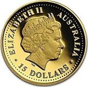 Australia 15 Dollars Kangaroo 2002 KM# 897 ELIZABETH II AUSTRALIA 15 DOLLARS coin obverse