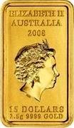 Australia 15 Dollars Kangaroo Dreaming 2008 KM# 1108 ELIZABETH II AUSTRALIA 2008 15 DOLLARS 2.5 G 9999 GOLD IRB coin obverse