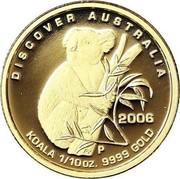 Australia 15 Dollars Koala 2006 Proof KM# 960 DISCOVER AUSTRALIA KOALA 1/10OZ. 9999 GOLD 2006 P coin reverse