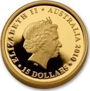 Australia 15 Dollars Koala on branch 2010 KM# 1468 ELIZABETH II AUSTRALIA 2010 15 DOLLARS IRB coin obverse