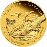 Australia 15 Dollars Kookaburra 2012 P Proof KM# 1722 DISCOVER AUSTRALIA 2012 KOOKABURRA 1/10OZ 9999 GOLD P AH coin reverse