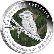 Australia 15 Dollars Kookaburra 2012 P Proof KM# 1849 DISCOVER AUSTRALIA 2012 KOOKABURRA 1/10OZ 9995 PLATINUM P TV coin reverse
