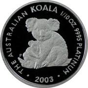 Australia 15 Dollars Mother and baby koala 2003 Proof KM# 926 THE AUSTRALIAN KOALA 1/10 OZ. 9995 PLATINUM 2003 P coin reverse