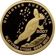 Australia 15 Dollars Platypus 2007 Proof KM# 978 DISCOVER AUSTRALIA 2007 PLATYPUS 1/10OZ 9999 GOLD P RV coin reverse