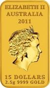 Australia 15 Dollars Platypus Dreaming 2011 KM# 1610 ELIZABETH II AUSTRALIA 2011 15 DOLLARS 2.5 G 9999 GOLD IRB coin obverse