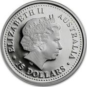 Australia 15 Dollars Single koala with gum leave 2005 Proof KM# 935 ELIZABETH II AUSTRALIA 15 DOLLARS coin obverse