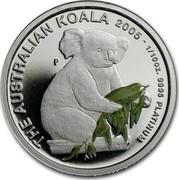 Australia 15 Dollars Single koala with gum leave 2005 Proof KM# 935 THE AUSTRALIAN KOALA 2005 1/10OZ. 9995 PLATINUM P coin reverse