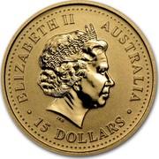 Australia 15 Dollars The Australian Nugget 2002 KM# 894 ELIZABETH II AUSTRALIA 15 DOLLARS IRB coin obverse