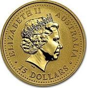 Australia 15 Dollars The Australian Nugget 2003 KM# 902 ELIZABETH II AUSTRALIA 15 DOLLARS IRB coin obverse