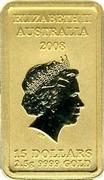 Australia 15 Dollars Turtle Dreaming 2008 KM# 1104 ELIZABETH II AUSTRALIA 2008 15 DOLLARS 2.5 G 9999 GOLD IRB coin obverse