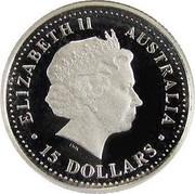 Australia 15 Dollars Two koalas on branch 2001 Proof KM# 917 ELIZABETH II AUSTRALIA 15 DOLLARS coin obverse