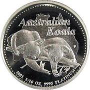 Australia 15 Dollars Two koalas on branch 2001 Proof KM# 917 AUSTRALIAN KOALA 2001 1/10 OZ. 9995 PLATINUM coin reverse