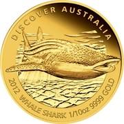 Australia 15 Dollars Whale shark 2012 P Proof KM# 1723 DISCOVER AUSTRALIA 2012 WHALE SHARK 1/10OZ 9999 GOLD P TV coin reverse