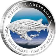 Australia 15 Dollars Whale shark 2012 P Proof KM# 1850 DISCOVER AUSTRALIA 2012 WHALE SHARK 1/10OZ 9995 PLATINUM P TV coin reverse