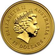 Australia 15 Dollars Year of the Horse 2002 KM# 584 ELIZABETH II AUSTRALIA 15 DOLLARS IRB coin obverse
