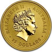 Australia 15 Dollars Year of the Monkey 2004 KM# 669 ELIZABETH II AUSTRALIA 15 DOLLARS IRB coin obverse
