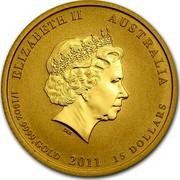 Australia 15 Dollars Year of the Rabbit 2011 KM# 1482 ELIZABETH II AUSTRALIA 1/10 OZ 9999 GOLD 2011 15 DOLLARS IRB coin obverse