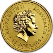 Australia 15 Dollars Year of the Rooster 2005 KM# 794 ELIZABETH II AUSTRALIA 15 DOLLARS IRB coin obverse