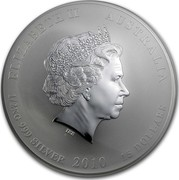 Australia 15 Dollars Year of the Tiger 2010 KM# 1373 ELIZABETH II AUSTRALIA 1/2 KG 999 SILVER 2010 15 DOLLARS IRB coin obverse