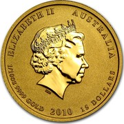 Australia 15 Dollars Year of the Tiger 2010 KM# 1375 ELIZABETH II AUSTRALIA 1/10 OZ 9999 GOLD 2010 15 DOLLARS IRB coin obverse