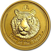 Australia 15 Dollars Year of the Tiger 2010 KM# 1375 YEAR OF THE TIGER P coin reverse