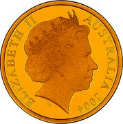 Australia 150 Dollars Cassowary bird 2004 B Proof KM# 731 ELIZABETH II AUSTRALIA 2004 IRB coin obverse