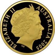 Australia 150 Dollars Rare Birds - Malleefowl 2005 B Proof KM# 752 ELIZABETH II AUSTRALIA 2005 IRB coin obverse