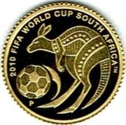 Australia 2 Dollars 2010 FIFA World Cup - South Africa 2009 P Proof KM# 1246 2010 FIFA WORLD CUP SOUTH AFRICA TM P coin reverse