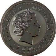 Australia 2 Dollars Australian Kookaburra 2002 Kookaburra Palindrome 1771 Spanish Pillars KM# 678 ELIZABETH II AUSTRALIA 2 DOLLARS IRB coin obverse