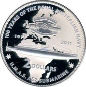 Australia 2 Dollars H.M.A.S. AE 2 submarine 2011 KM# 1627 100 YEARS OF THE ROYAL AUSTRALIAN NAVY 1911 2011 2 DOLLARS H.M.A.S. AE2 SUBMARINE coin reverse