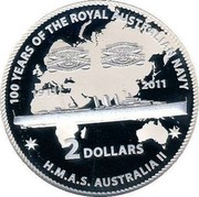 Australia 2 Dollars H.M.A.S. Australia II 2011 KM# 1628 100 YEARS OF THE ROYAL AUSTRALIAN NAVY 1911 2011 2 DOLLARS H.M.A.S. AUSTRALIA II coin reverse