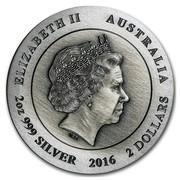 Australia 2 Dollars Hopping Kangaroo 2016 ELIZABETH II AUSTRALIA 2 OZ 999 SILVER 2016 2 DOLLARS IRB coin obverse