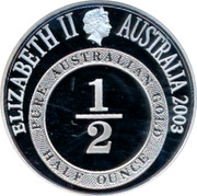 Australia 2 Dollars Port Phillip 2003 KM# 764 ELIZABETH II AUSTRALIA 2003 PURE AUSTRALIAN GOLD 1/2 HALF OUNCE coin obverse