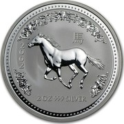 Australia 2 Dollars Year of the Horse 2002 KM# 581 2002 2 OZ 999 SILVER coin reverse