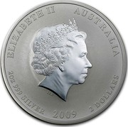 Australia 2 Dollars Year of the Ox 2009 KM# 1751 ELIZABETH II AUSTRALIA 2 OZ 999 SILVER 2009 2 DOLLARS IRB coin obverse
