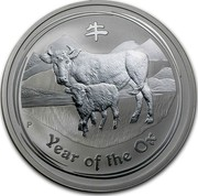 Australia 2 Dollars Year of the Ox 2009 KM# 1751 YEAR OF THE OX P coin reverse