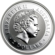 Australia 2 Dollars Year of the Snake 2001 KM# 537 ELIZABETH II AUSTRALIA 2 DOLLARS IRB coin obverse