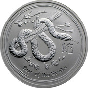 Australia 2 Dollars Year of the Snake 2013 Proof KM# 1833 YEAR OF THE SNAKE P coin reverse
