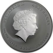 Australia 2 Dollars Year of the Tiger 2010 Proof KM# 1320 ELIZABETH II AUSTRALIA 2 OZ 999 SILVER 2010 2 DOLLARS IRB coin obverse