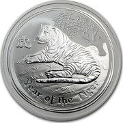 Australia 2 Dollars Year of the Tiger 2010 Proof KM# 1320 YEAR OF THE TIGER P coin reverse