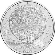 Australia 20 Cents 400th Anniversary of Dirk Hartog's Landfall 2016  HARTOG 1616 20 coin reverse